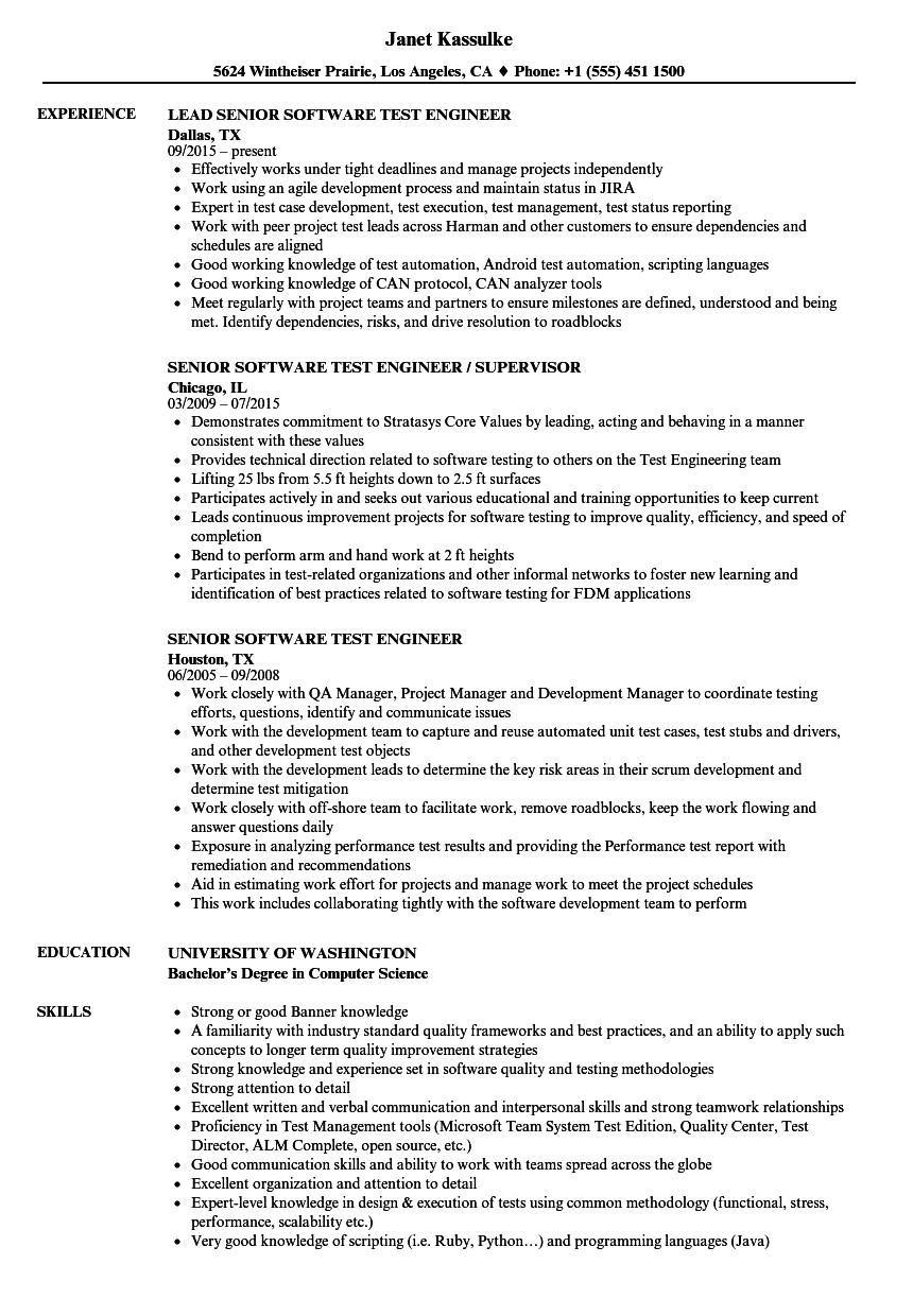 Senior Software Test Engineer Resume Samples Velvet Jobs