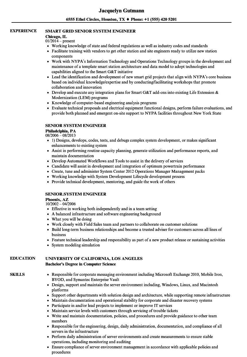 Senior System Engineer Resume Samples  Velvet Jobs