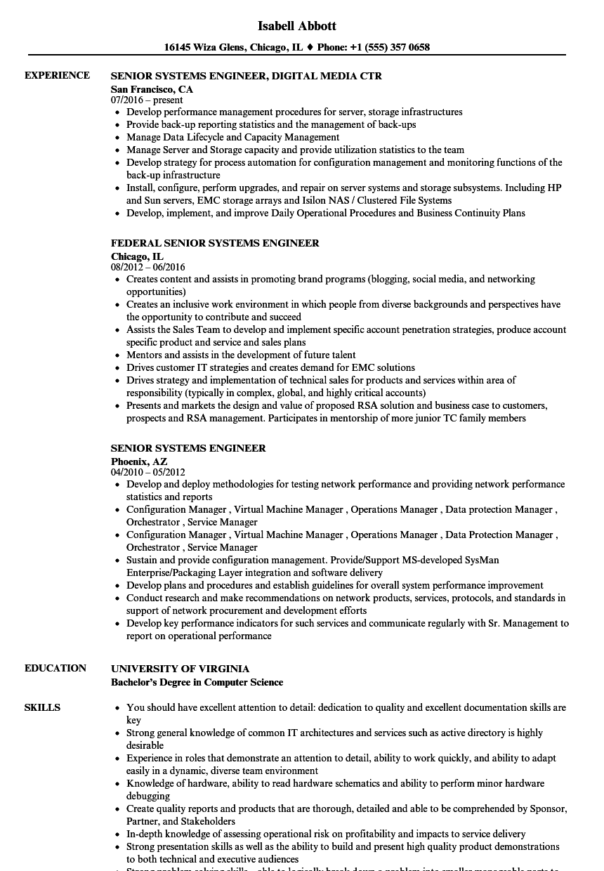sample resume of windows system engineer