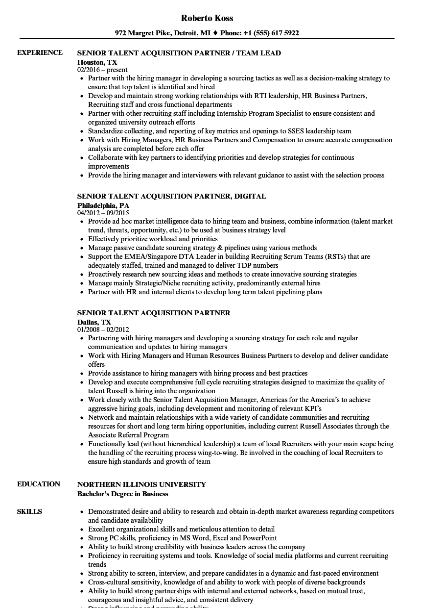 Senior Talent Acquisition Partner Resume Samples Velvet Jobs