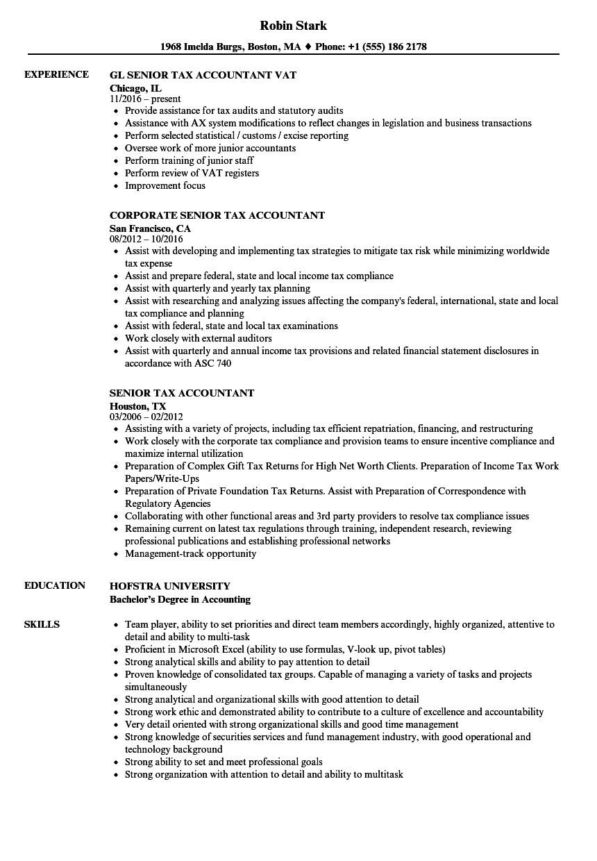 sample cpa resume tax