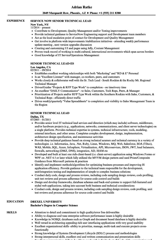 Senior Technical Lead Resume Samples Velvet Jobs Rh Velvetjobs Com Sample  Resume For Lead Engineer Resume