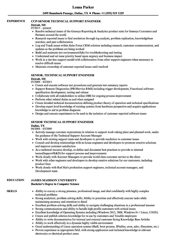 resume technical skills engineer