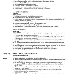 download senior technician resume sample as image file [ 860 x 1240 Pixel ]