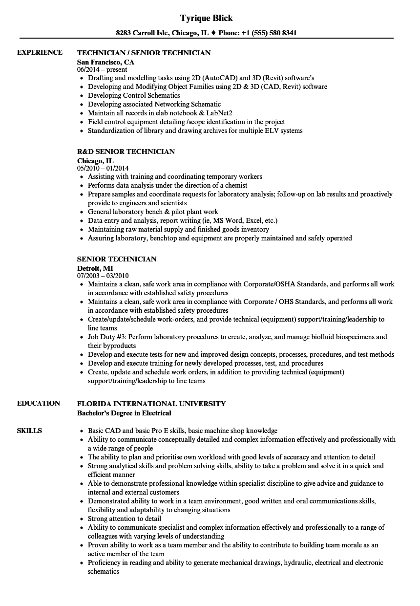 hight resolution of download senior technician resume sample as image file