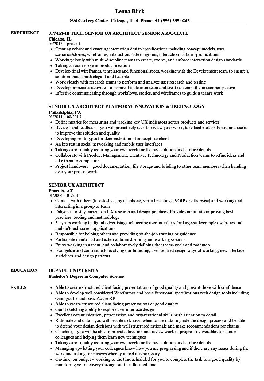 building architect resume sample