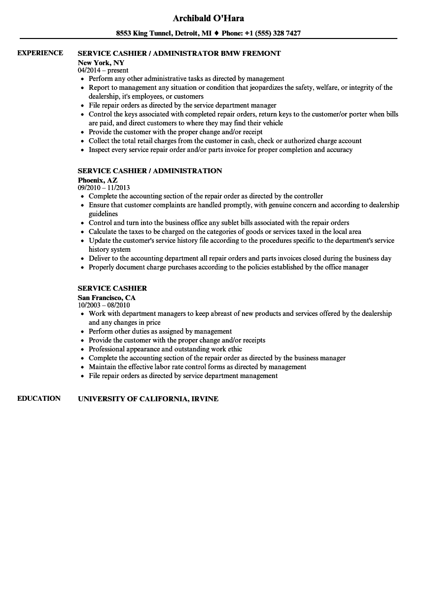 Service Cashier Resume Samples | Velvet Jobs