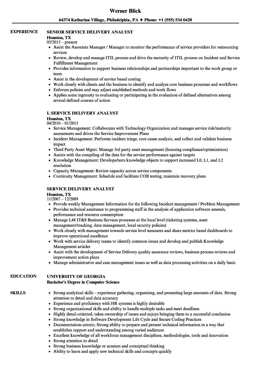 service delivery analyst resume sample