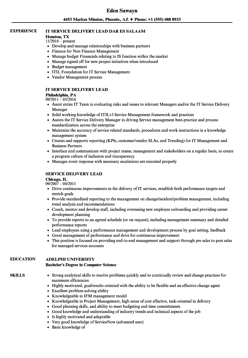 Service Delivery Lead Resume Samples Velvet Jobs
