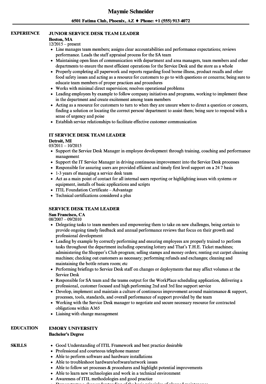 Service Desk Team Leader Resume Samples  Velvet Jobs