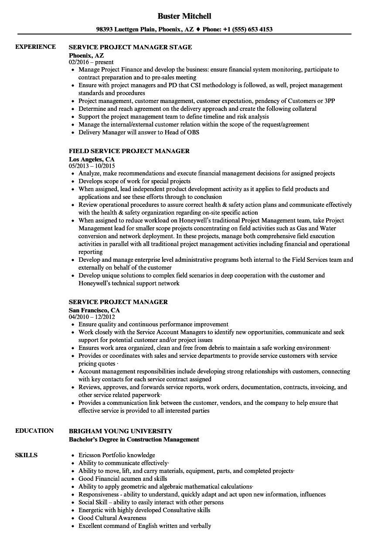Service Project Manager Resume Samples | Velvet Jobs