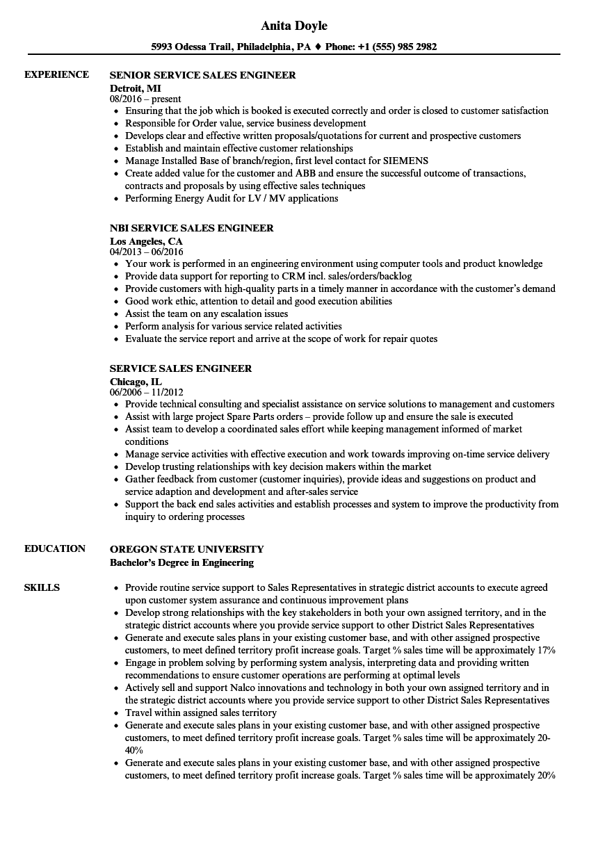 Download Service / Sales Engineer Resume Sample As Image File