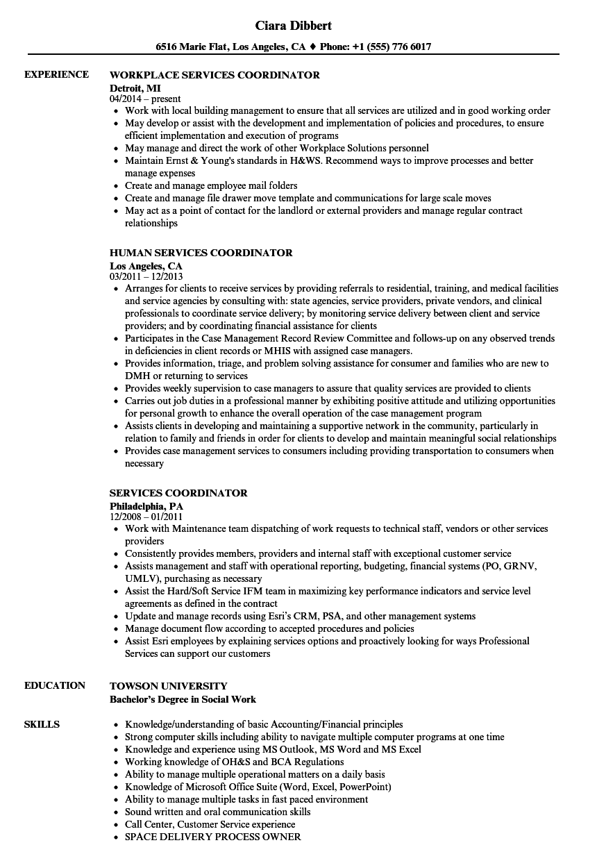 Services Coordinator Resume Samples Velvet Jobs