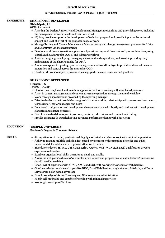 back end developer resume sample
