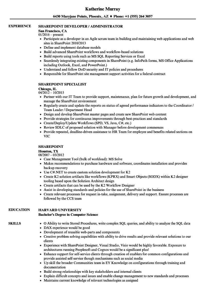sharepoint business analyst resume sample