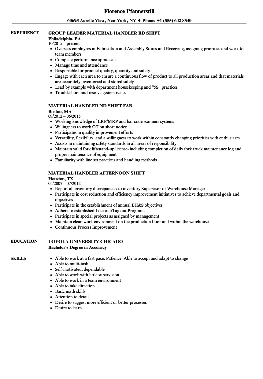 resume for material handler