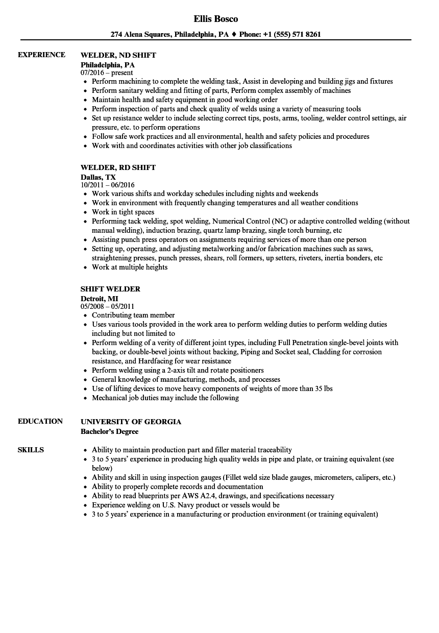 welder resume sample download
