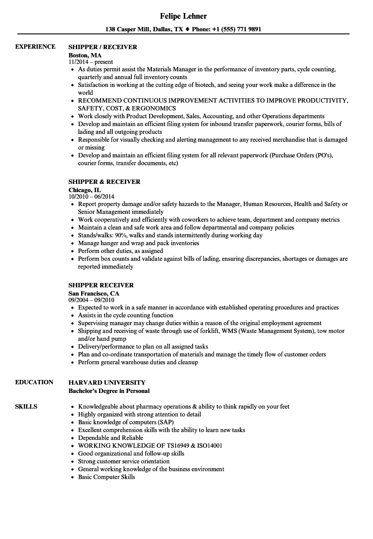 Shipper/receiver Resume Samples | Velvet Jobs