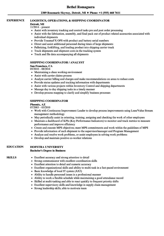 Download Shipping Coordinator Resume Sample As Image File