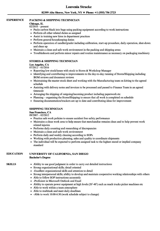 warehouse technician resume