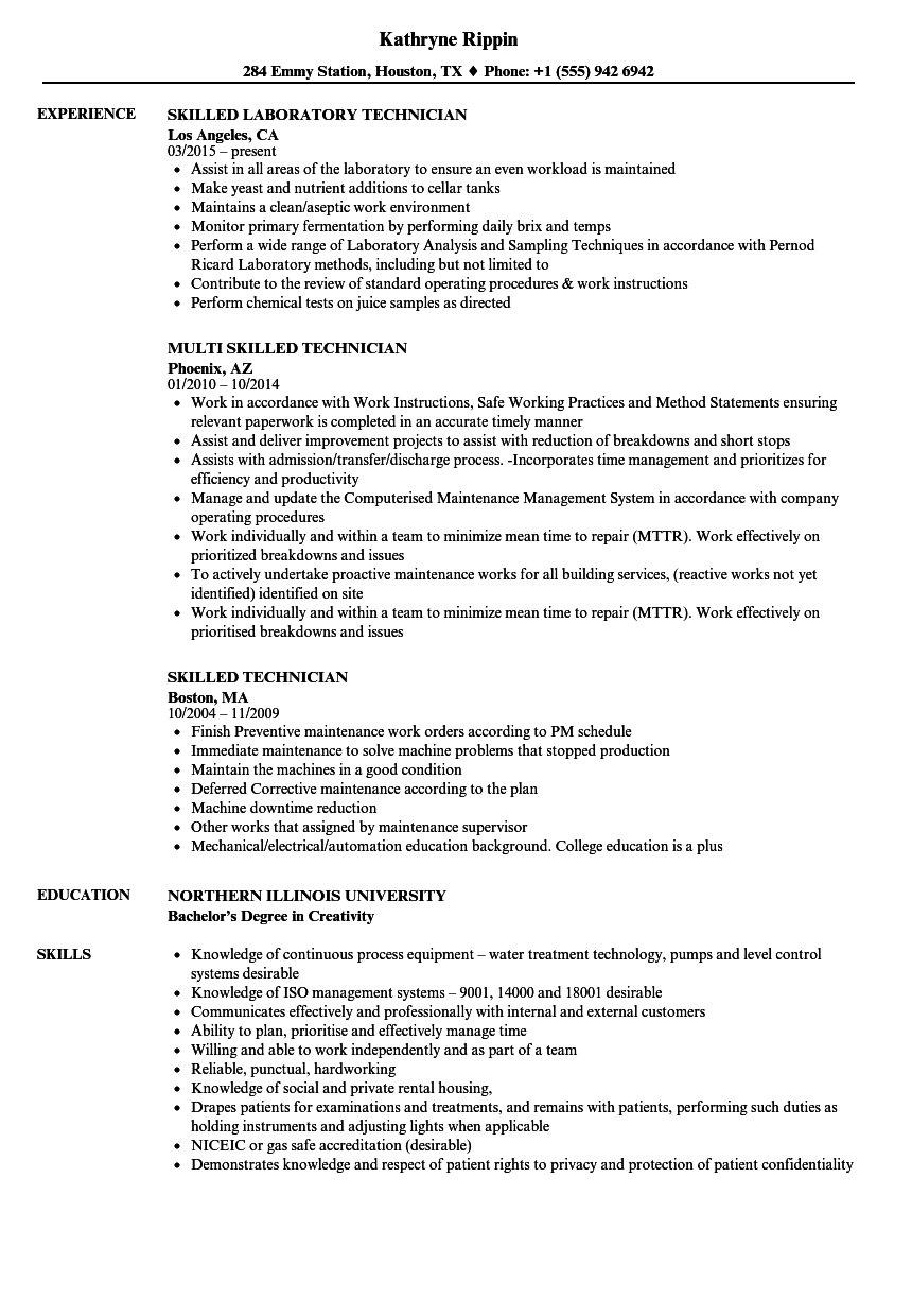 Skilled Technician Resume Samples Velvet Jobs