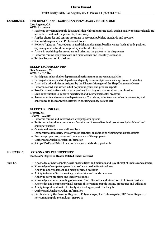 sleep technician resume sample