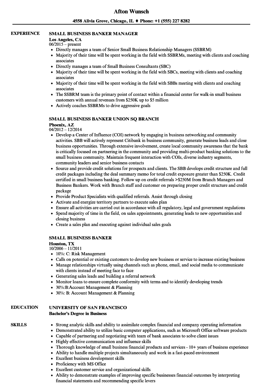 Small Business Banker Resume Samples Velvet Jobs