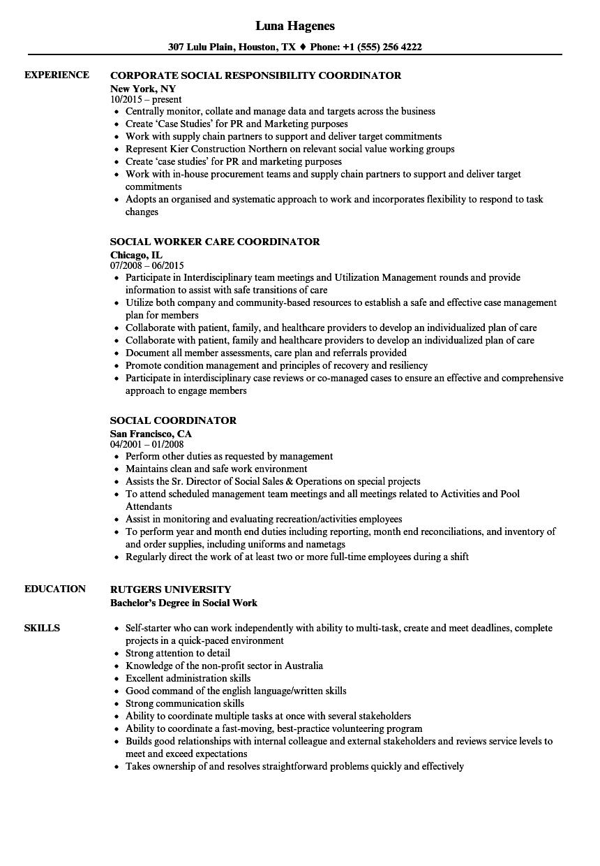 Social Coordinator Resume Samples   Velvet Jobs