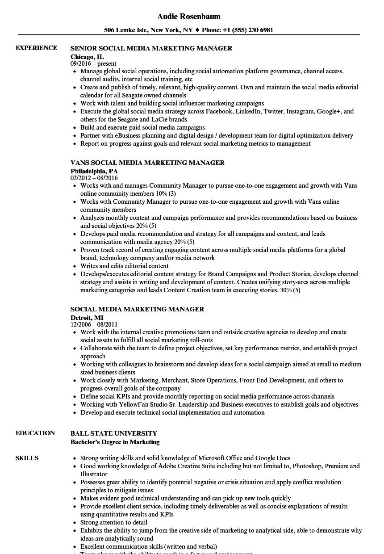 social media marketing specialist resume samples