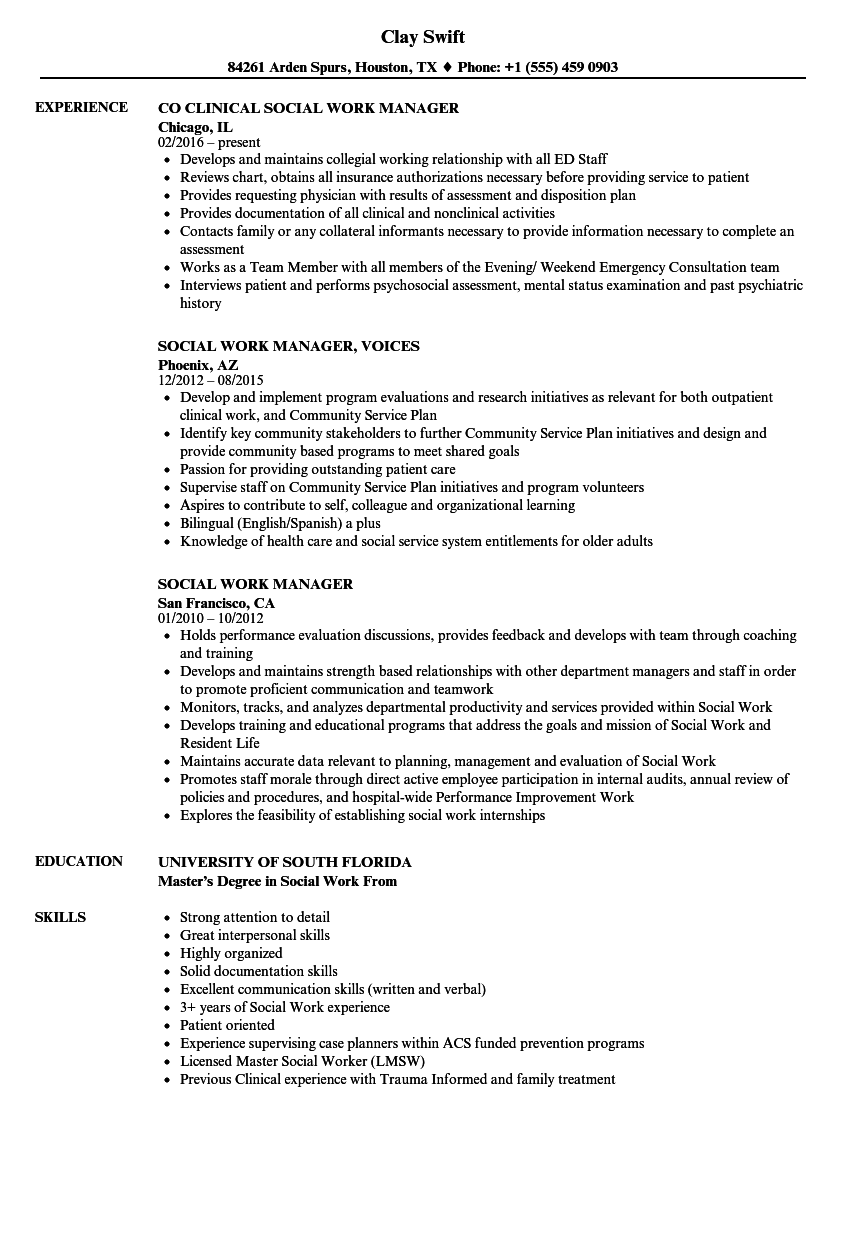 Social Work Manager Resume Samples Velvet Jobs