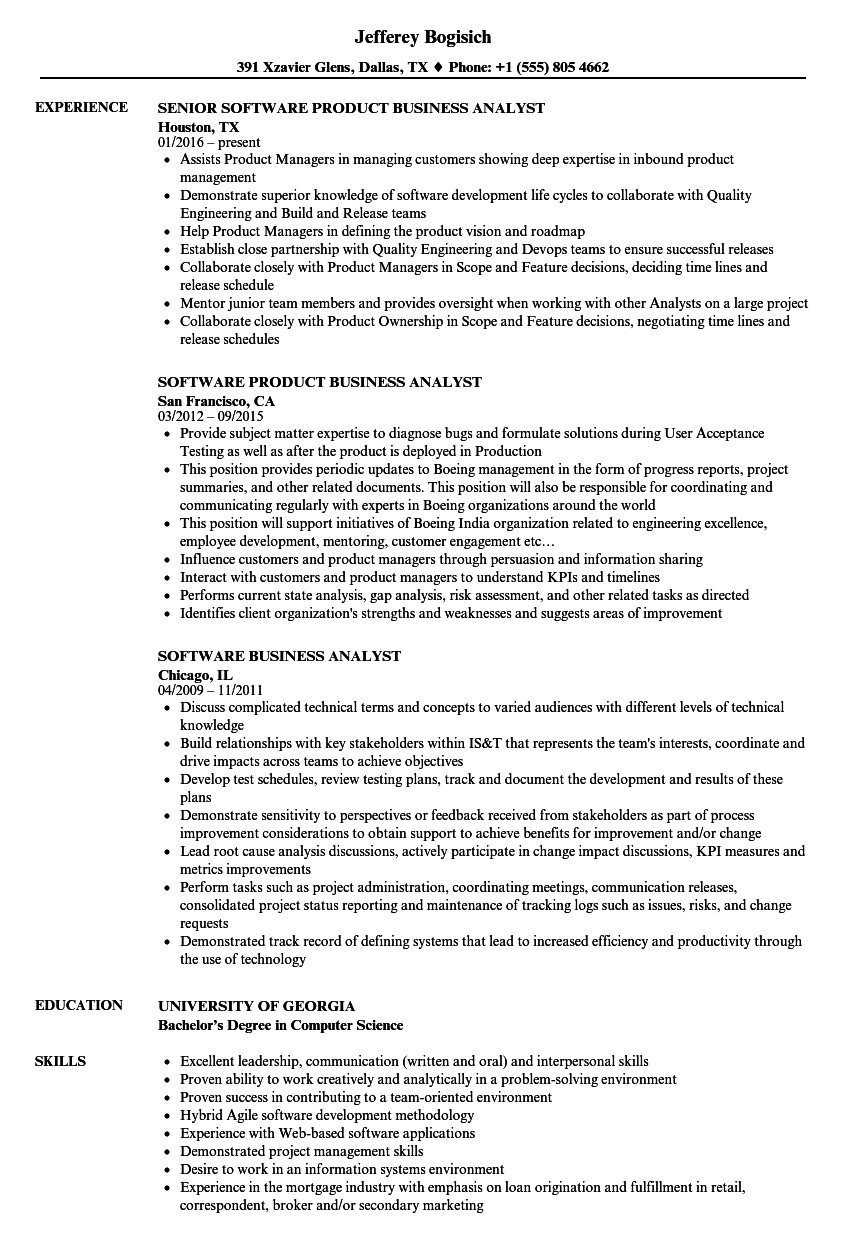 Software Business Analyst Resume Samples Velvet Jobs