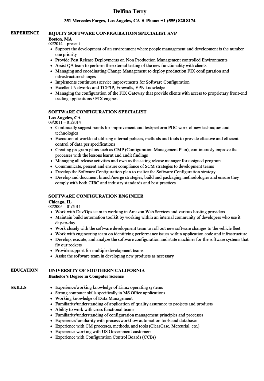 software configuration manager sample resume