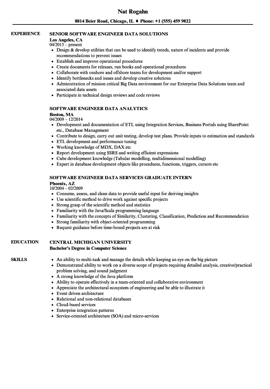 data structures and algorithms sample resume
