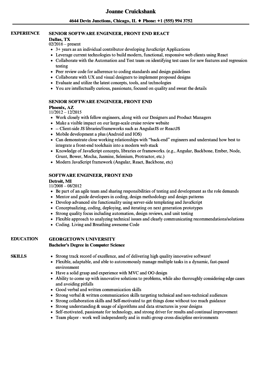 front end supervisor resume examples