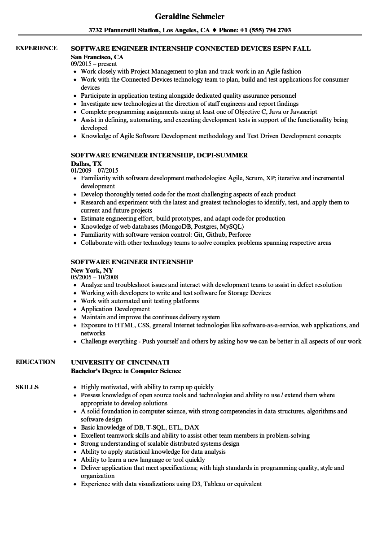 software engineering student resume sample