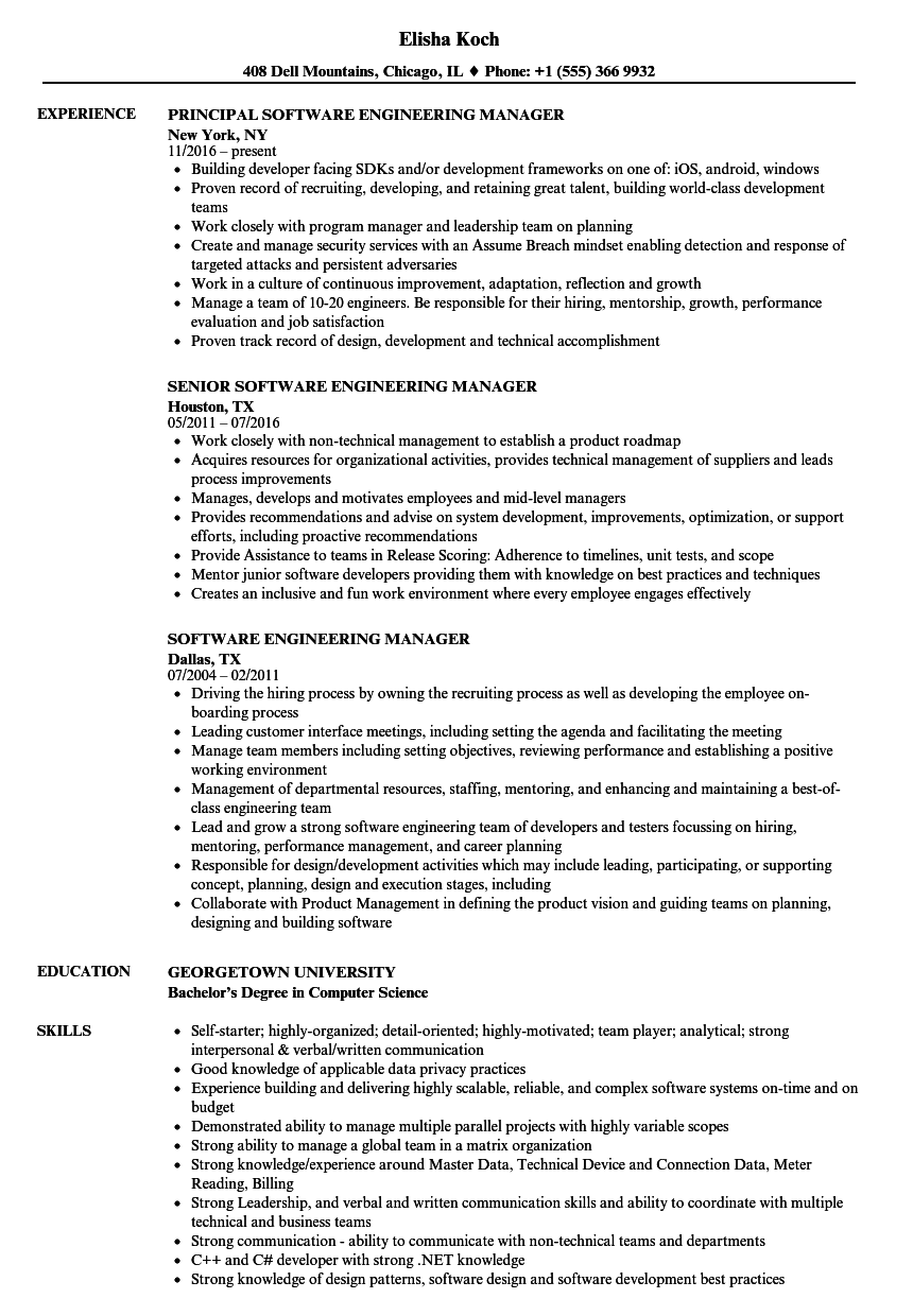 resume of software engineering manager