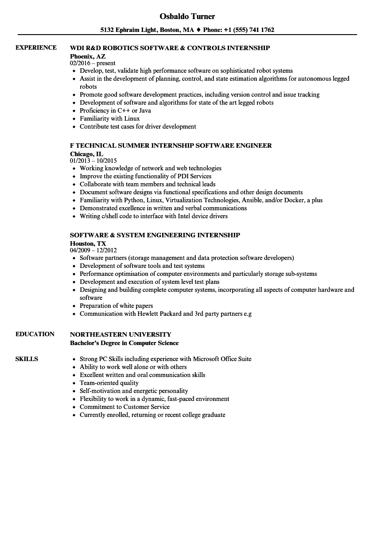 sample college internship resume