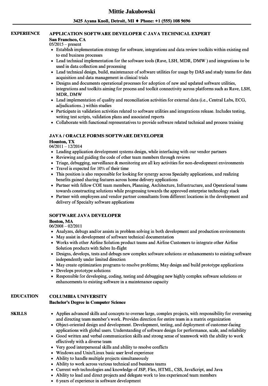 resume for associate software engineer