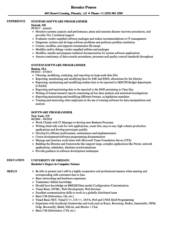 Software Programmer Resume Samples  Velvet Jobs