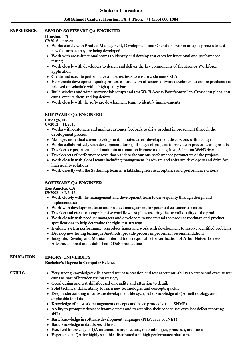 modern resume template for software qa engineer
