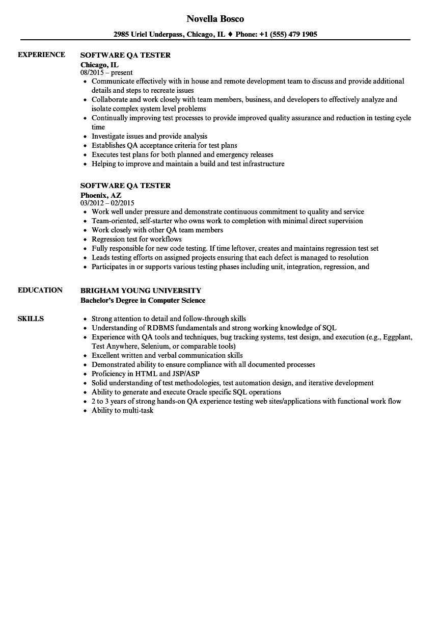resume examples for software testers