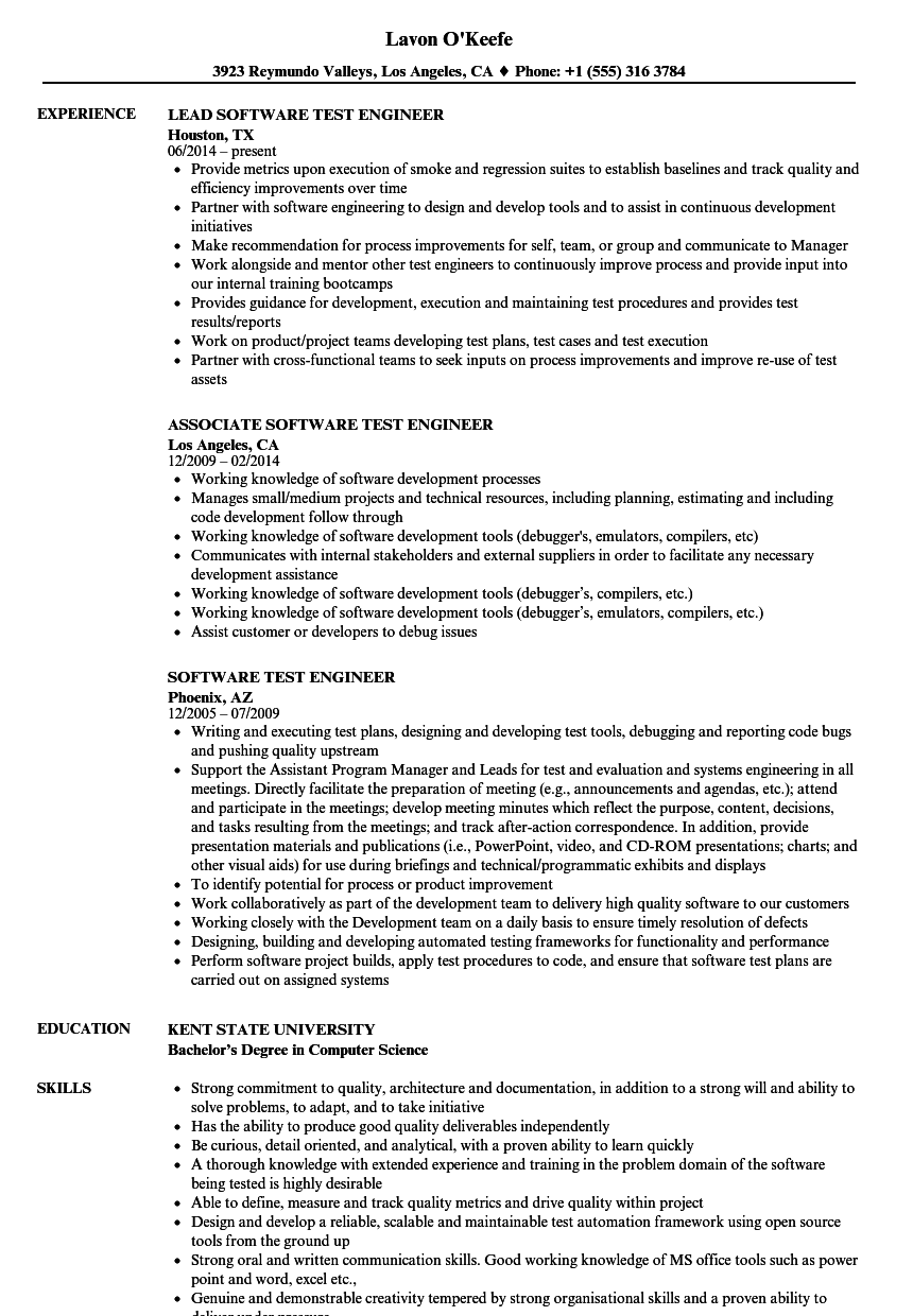 resume experience software engineer