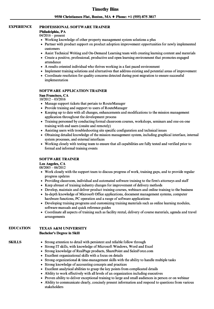 resume examples software