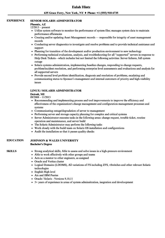 sparc solaris 10 sample resume