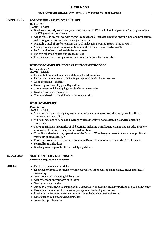 wine sommelier resume sample