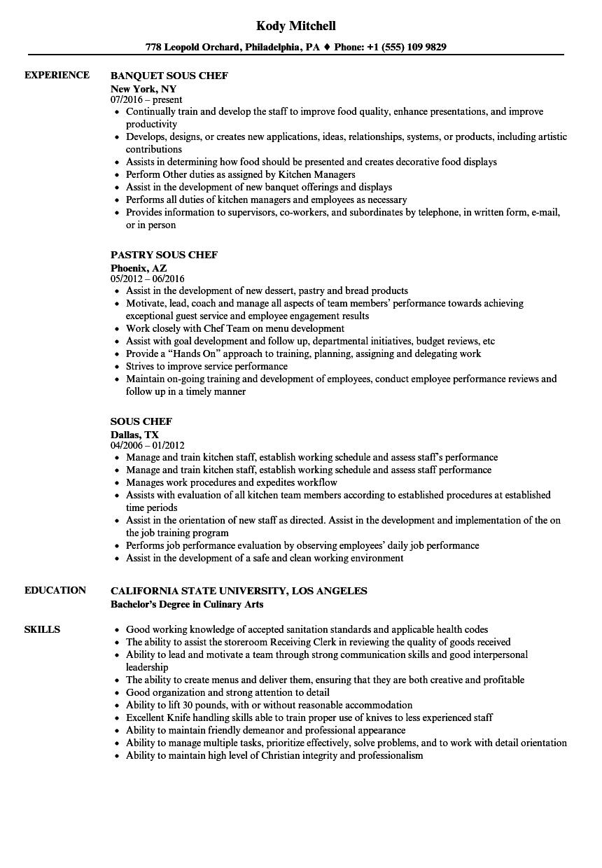 Sous Chef Resume Samples  Velvet Jobs