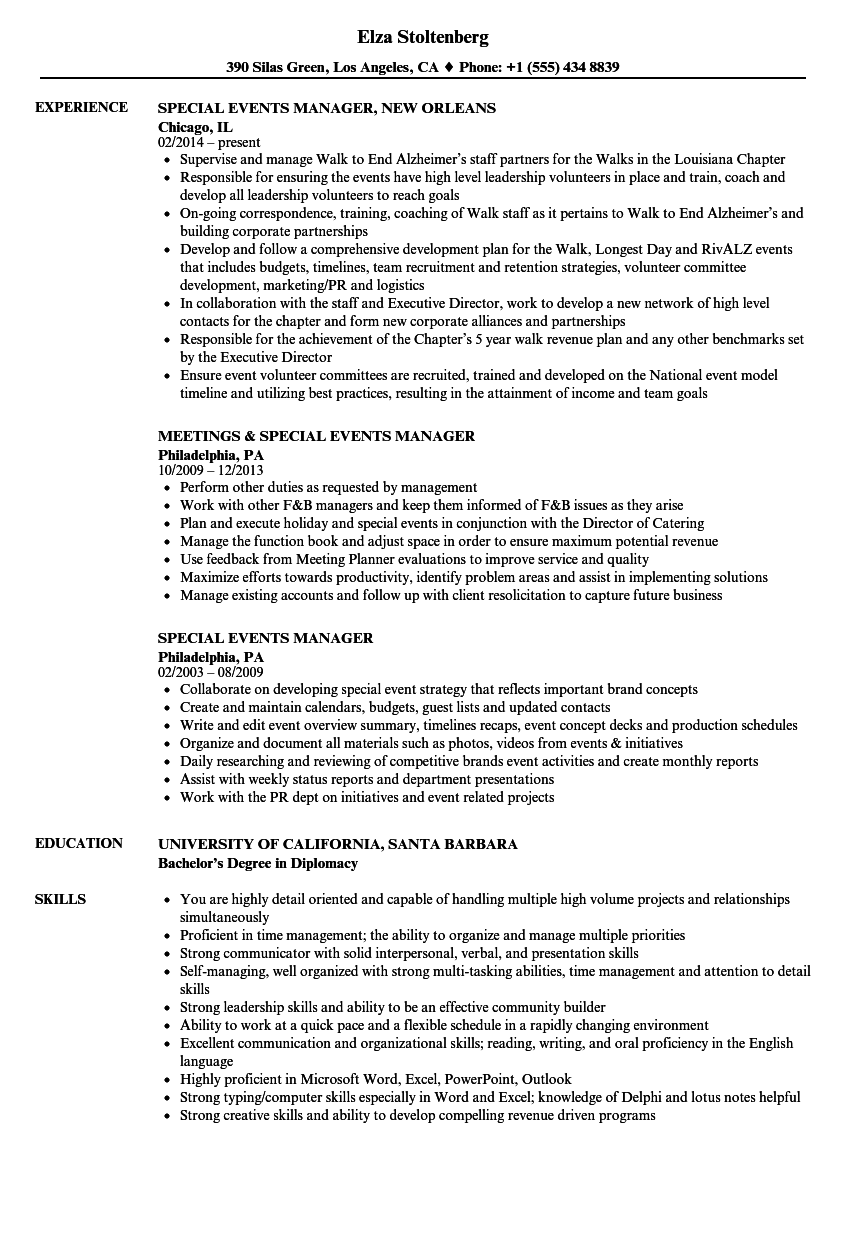 Special Events Manager Resume Samples Velvet Jobs