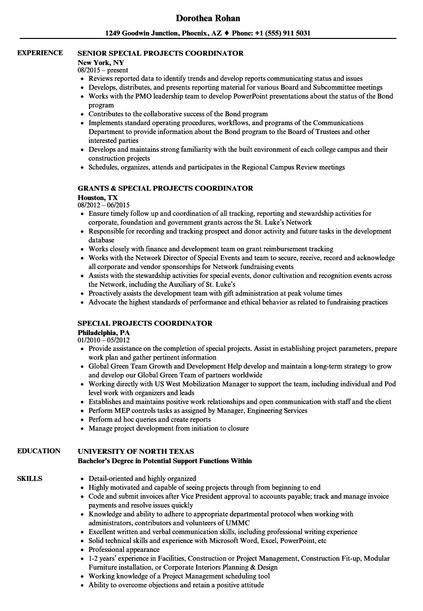 Special Projects Coordinator Resume Samples Velvet Jobs