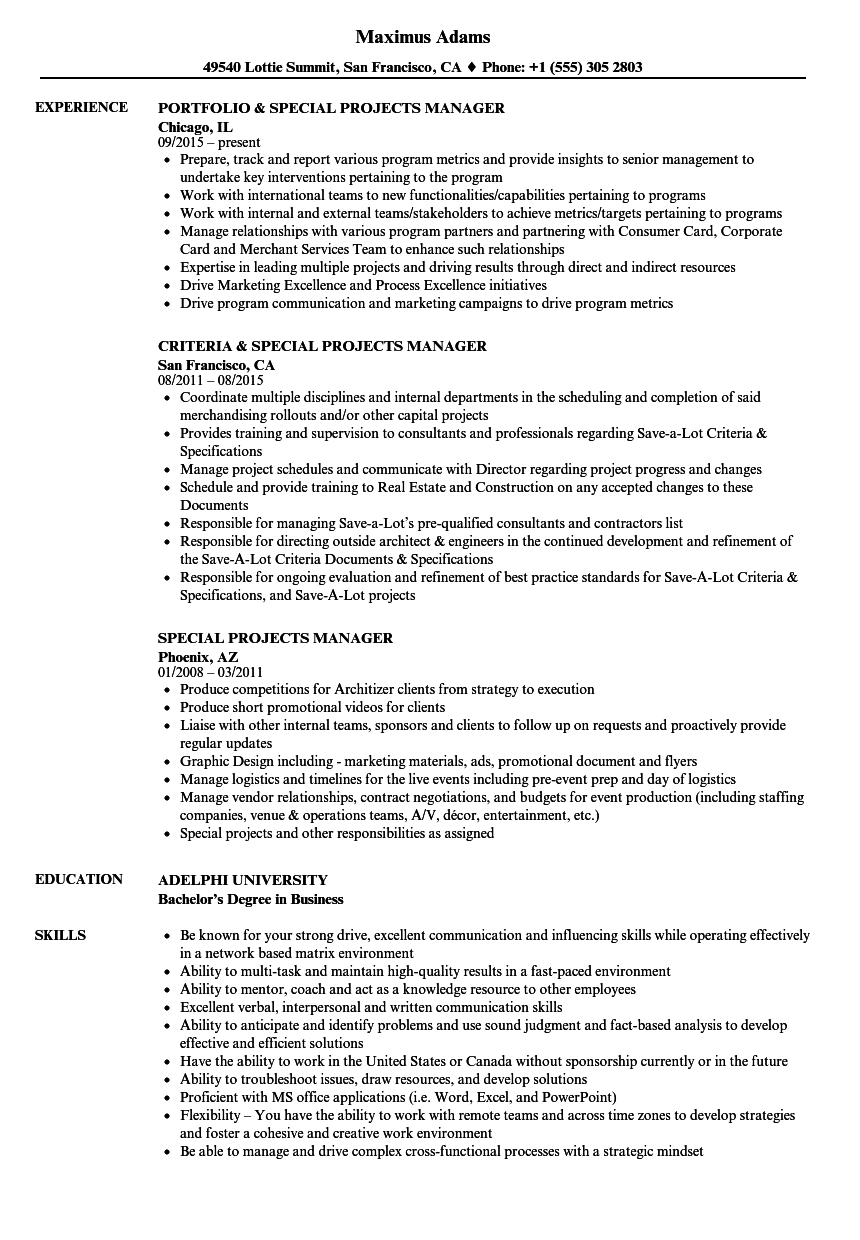 sample college projects resume