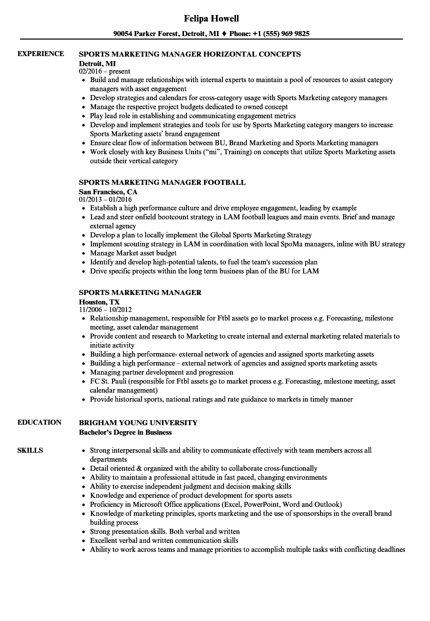 Sports Marketing Manager Resume Samples Velvet Jobs